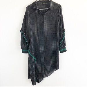 Zara Basic Black Polka Dot Green Ruffle Dress